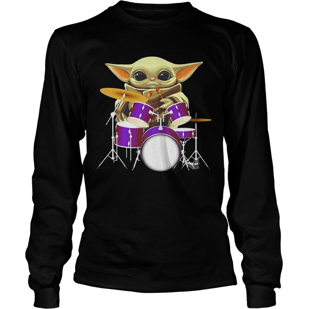 Baby Yoda Playing Drum Longsleeve