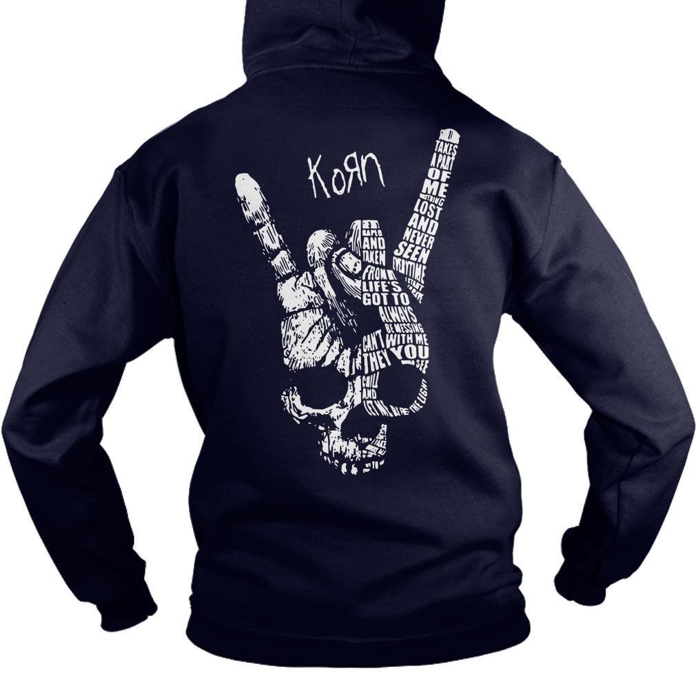 Heart Beat Skull Hand Korn Hoodie
