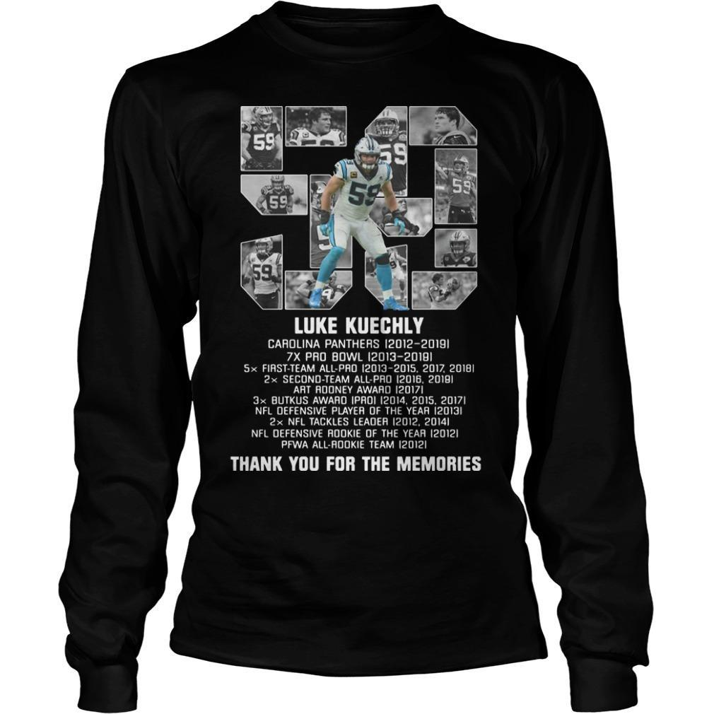 List Prize 59 Luke Kuechly Thank You For The Memories Longsleeve