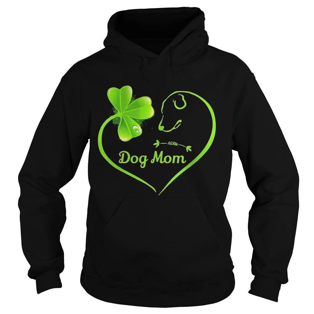 St Patrick's Day Three Leaf Clover Heart Dog Mom Hoodie