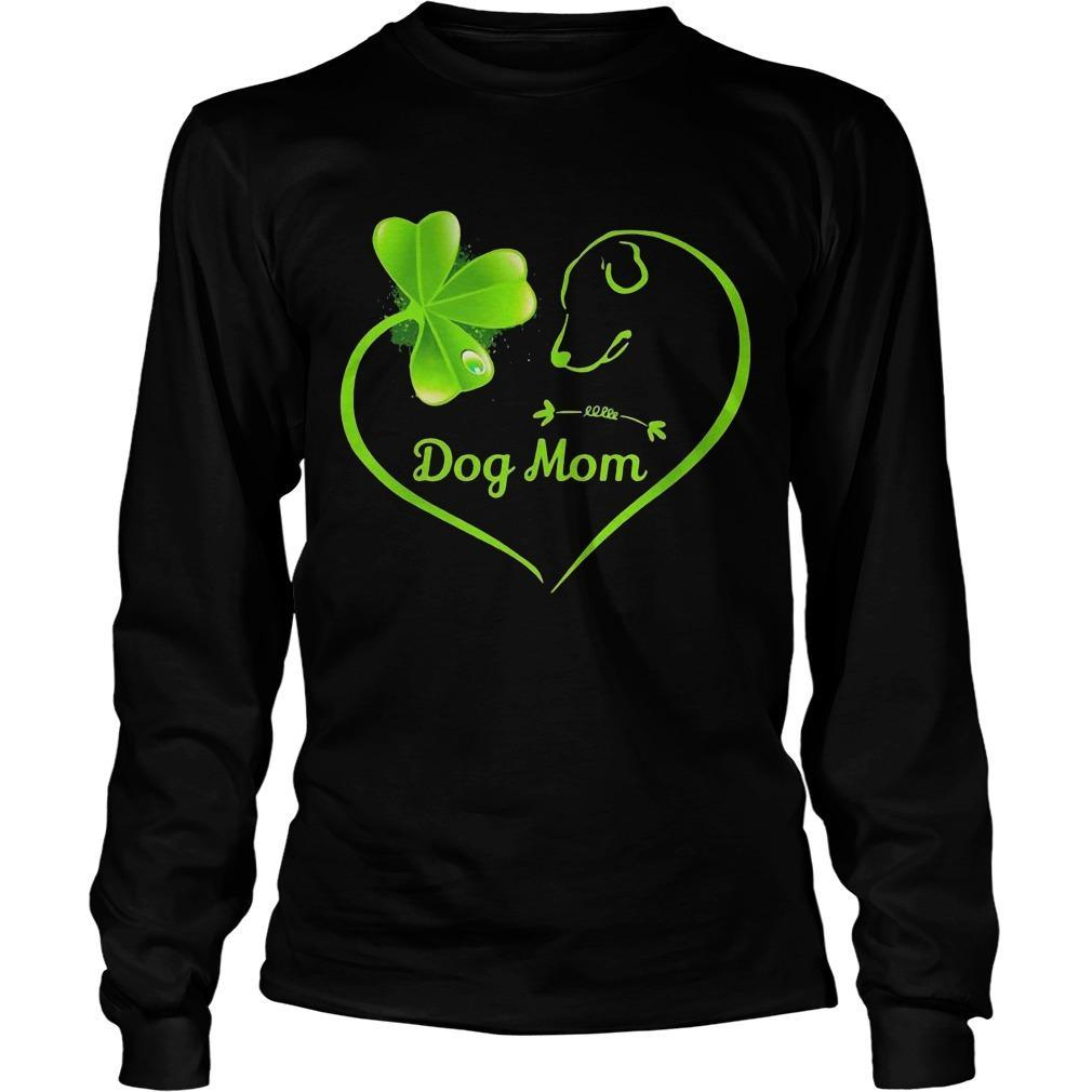 St Patrick's Day Three Leaf Clover Heart Dog Mom Longsleeve