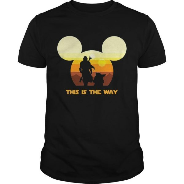 Sun Head Mickey Boba Fett And Baby Yoda This Is The Way Shirt