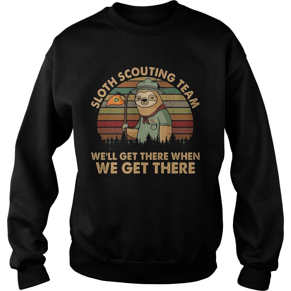 Vintage Sloth Scouting Team We'll Get There When We Get There Sweater
