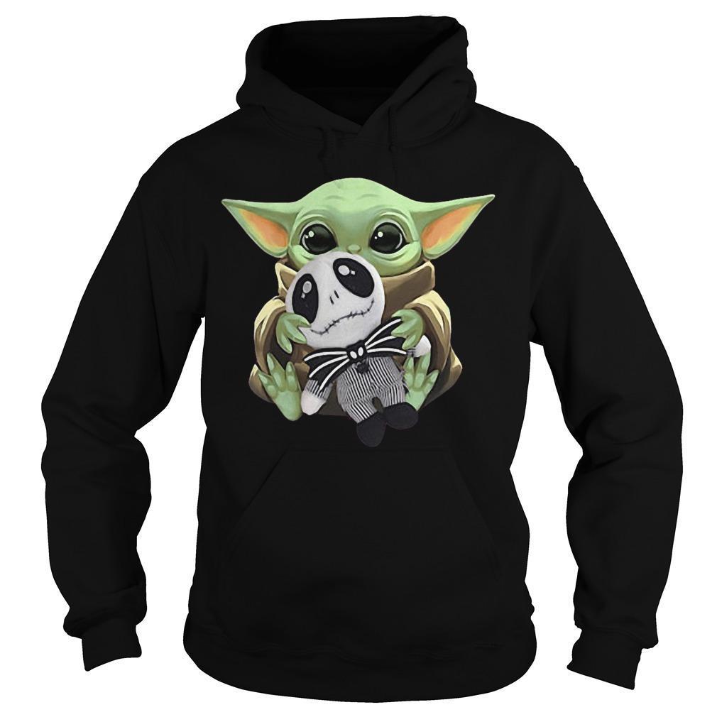 Baby Yoda Hugging Baby Jack Skellington Hoodie