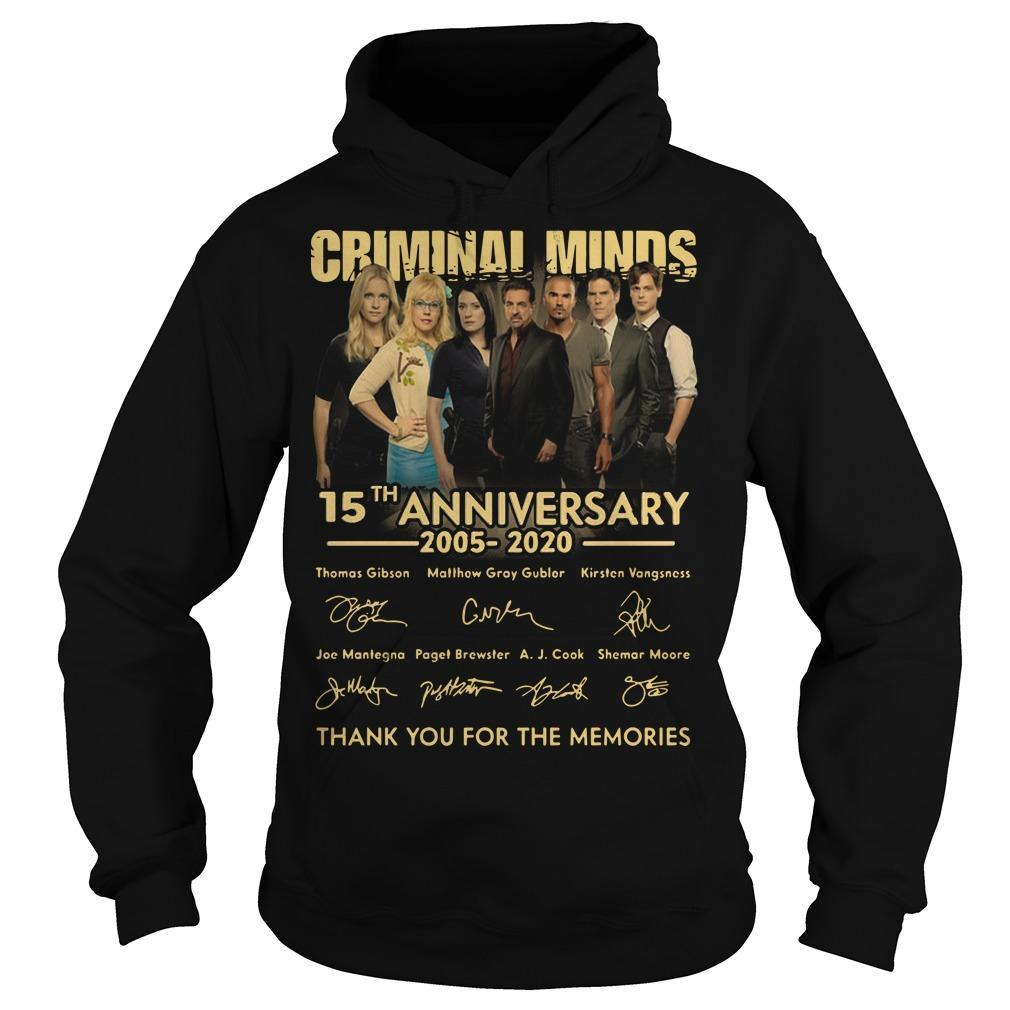 Criminal Minds 15th Anniversary 2005 2020 Thank You For The Memories Hoodie