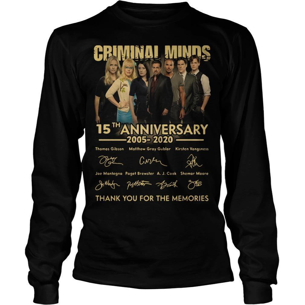 Criminal Minds 15th Anniversary 2005 2020 Thank You For The Memories Longsleeve