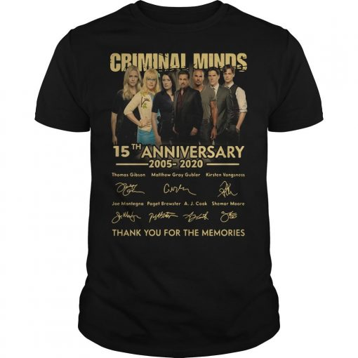 Criminal Minds 15th Anniversary 2005 2020 Thank You For The Memories Shirt