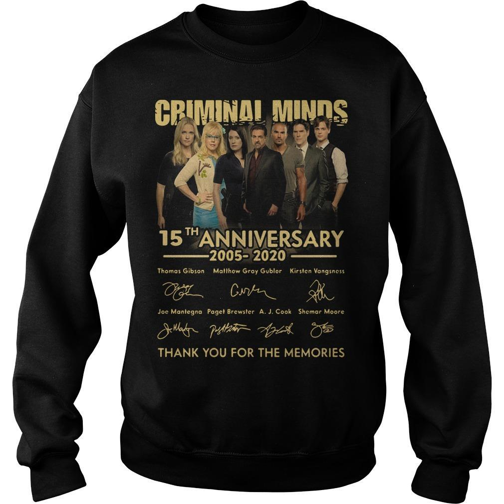 Criminal Minds 15th Anniversary 2005 2020 Thank You For The Memories Sweater