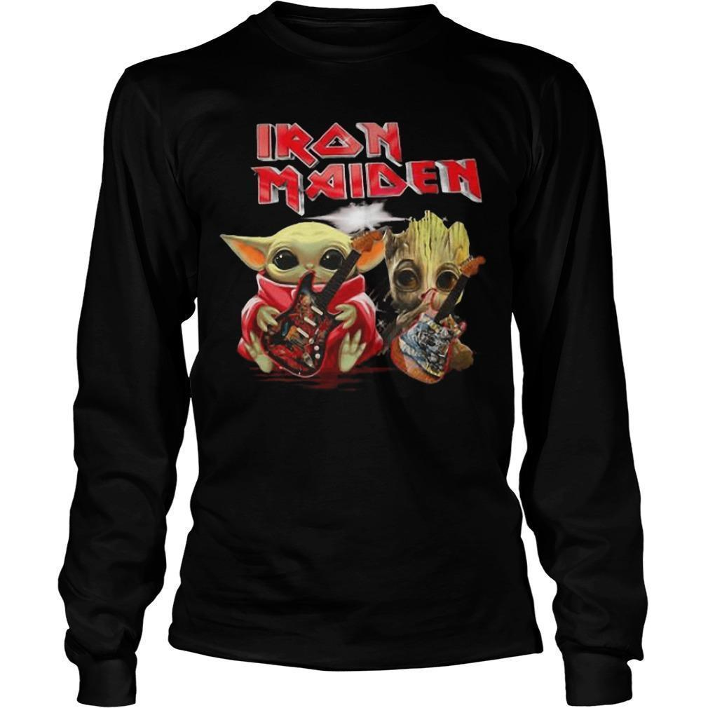 Iron Maiden Baby Yoda And Baby Groot Playing Guitar Longsleeve
