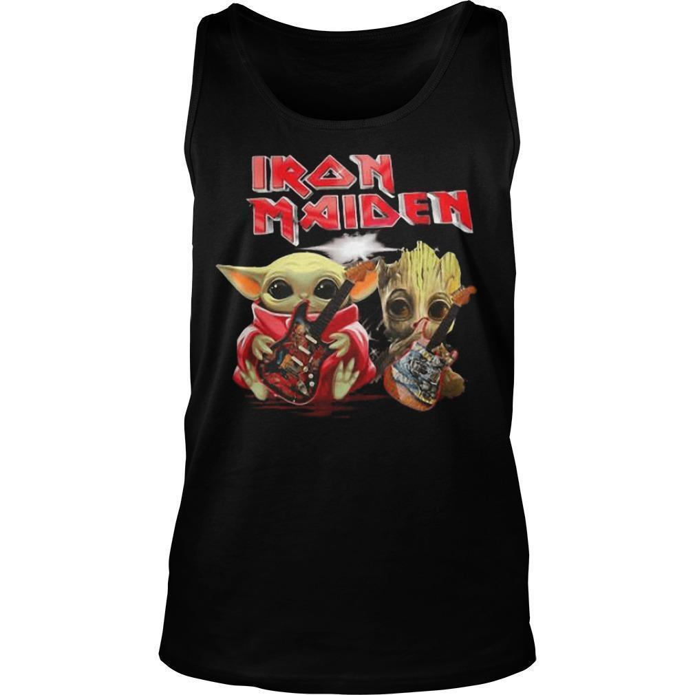 Iron Maiden Baby Yoda And Baby Groot Playing Guitar Tank Top