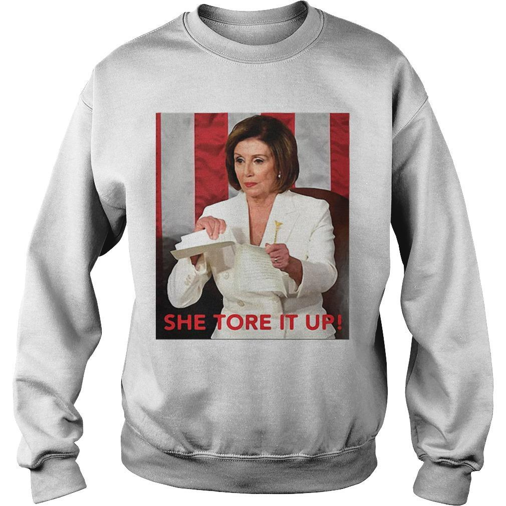 Meme She Tore It Up Trump Speech Nancy Pelosi Sweater