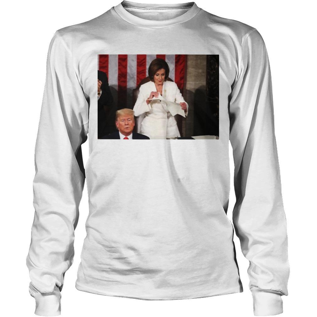 Nancy Pelosi Ripping Up Copy Of State Of The Union Speech From Trump Longsleeve