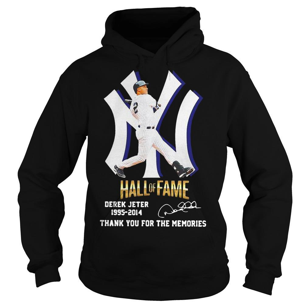 New York Yankees Hall Of Fame Derek Jeter 1995 2014 Thank You For The Memories Hoodie