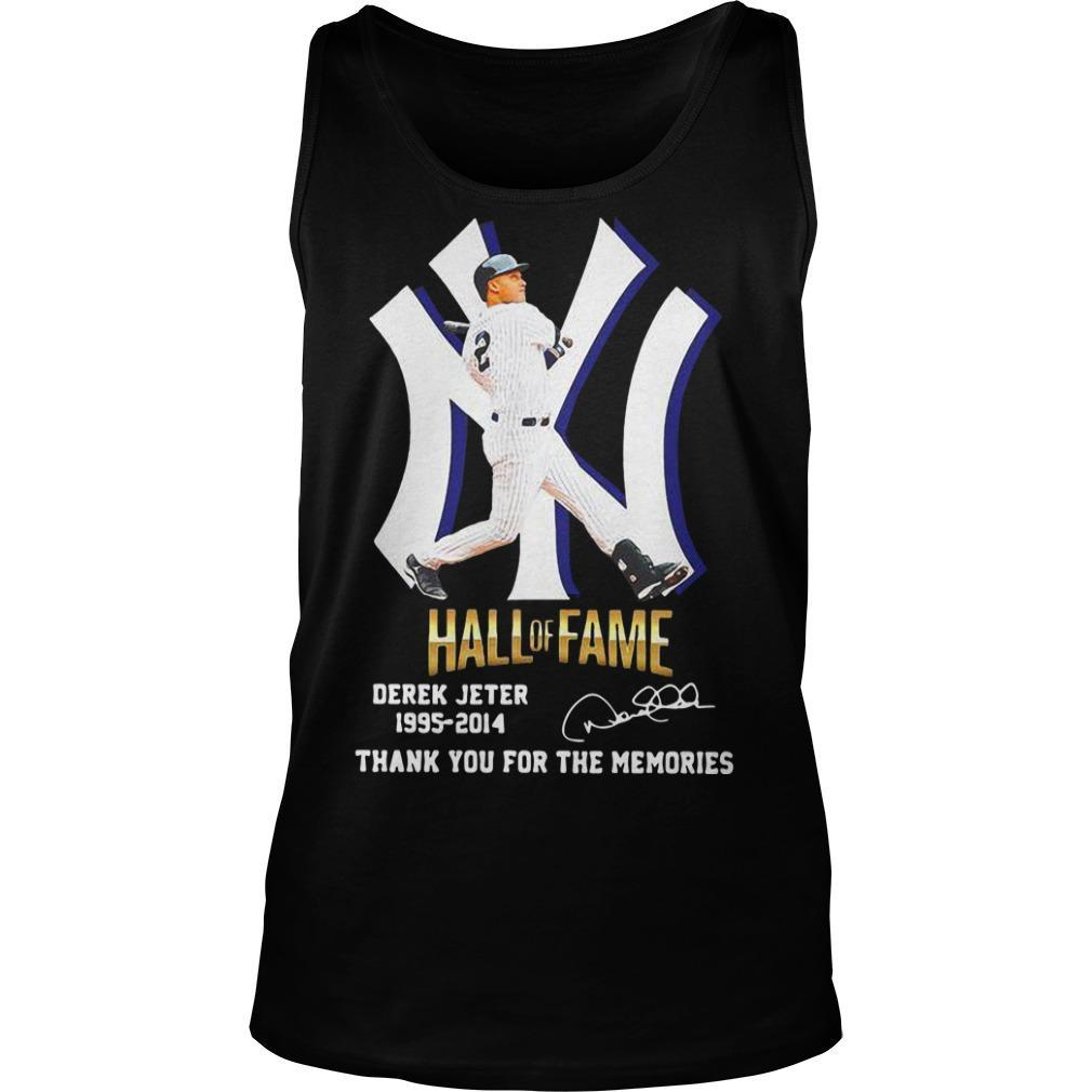 New York Yankees Hall Of Fame Derek Jeter 1995 2014 Thank You For The Memories Tank Top