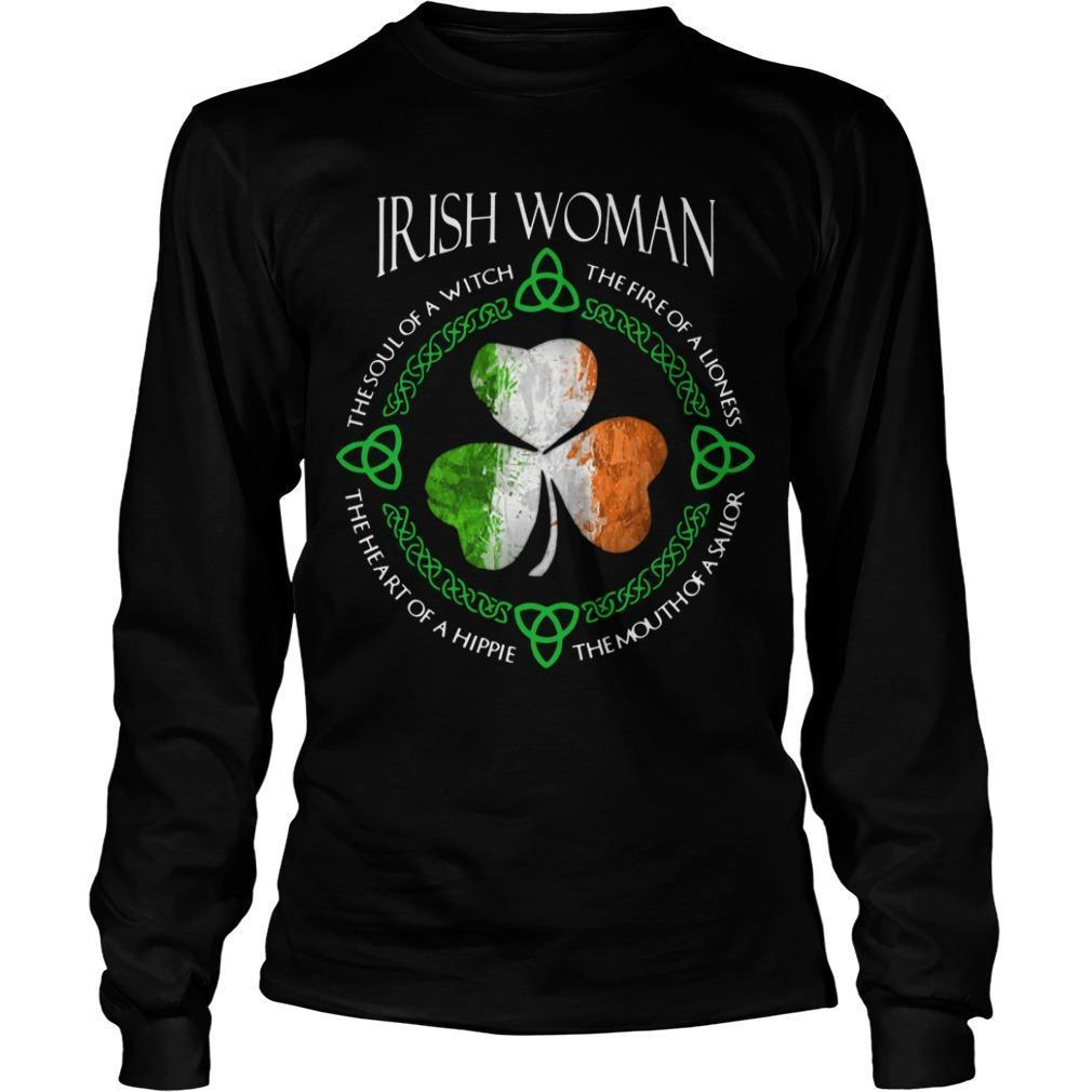 Shamrock Irish Woman The Soul Of A Witch The Fire Of A Lioness Longsleeve