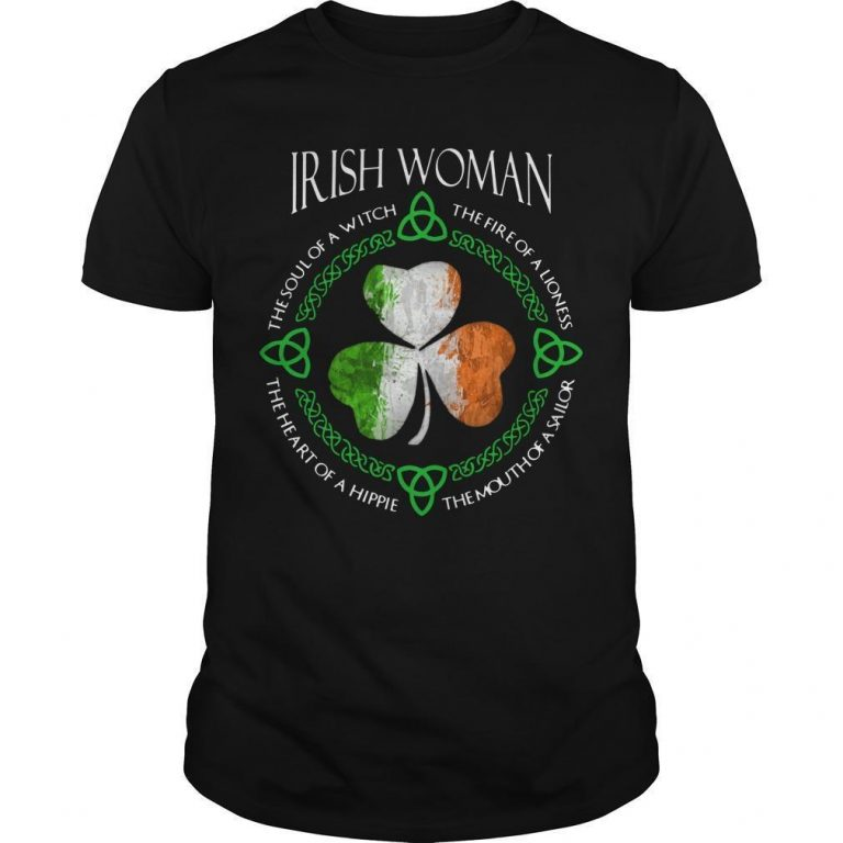 Shamrock Irish Woman The Soul Of A Witch The Fire Of A Lioness Shirt