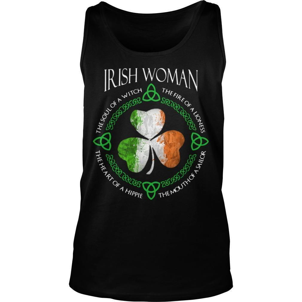 Shamrock Irish Woman The Soul Of A Witch The Fire Of A Lioness Tank Top