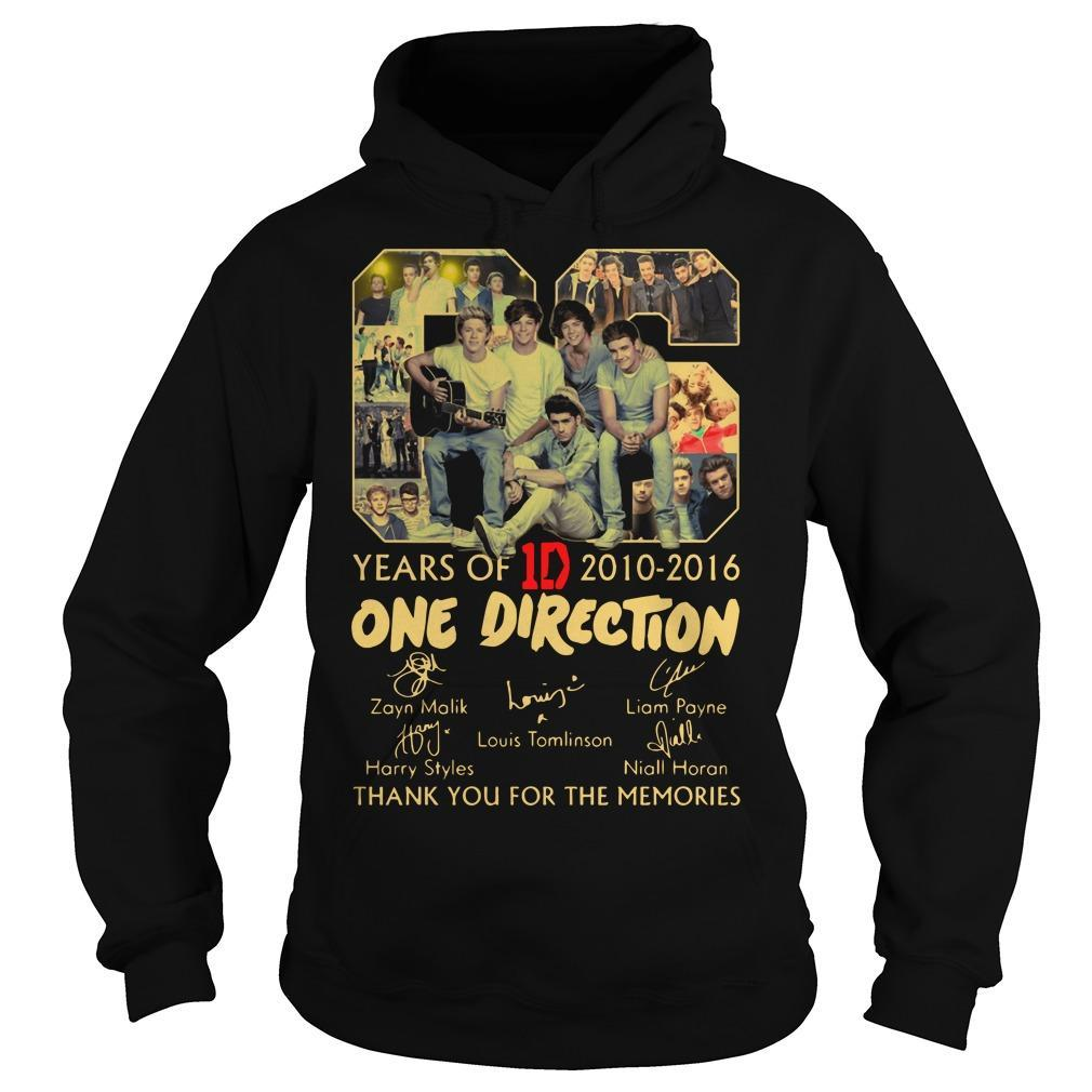 06 Years Of One Direction 2010 2016 Thank You For The Memories Hoodie