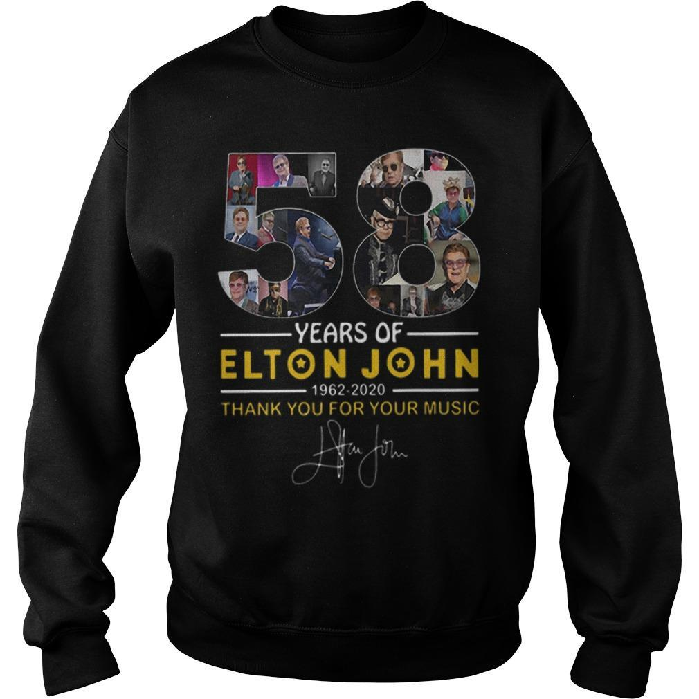 58 Years Of Elton John 1962 2020 Thank You For Your Music Signature Sweater
