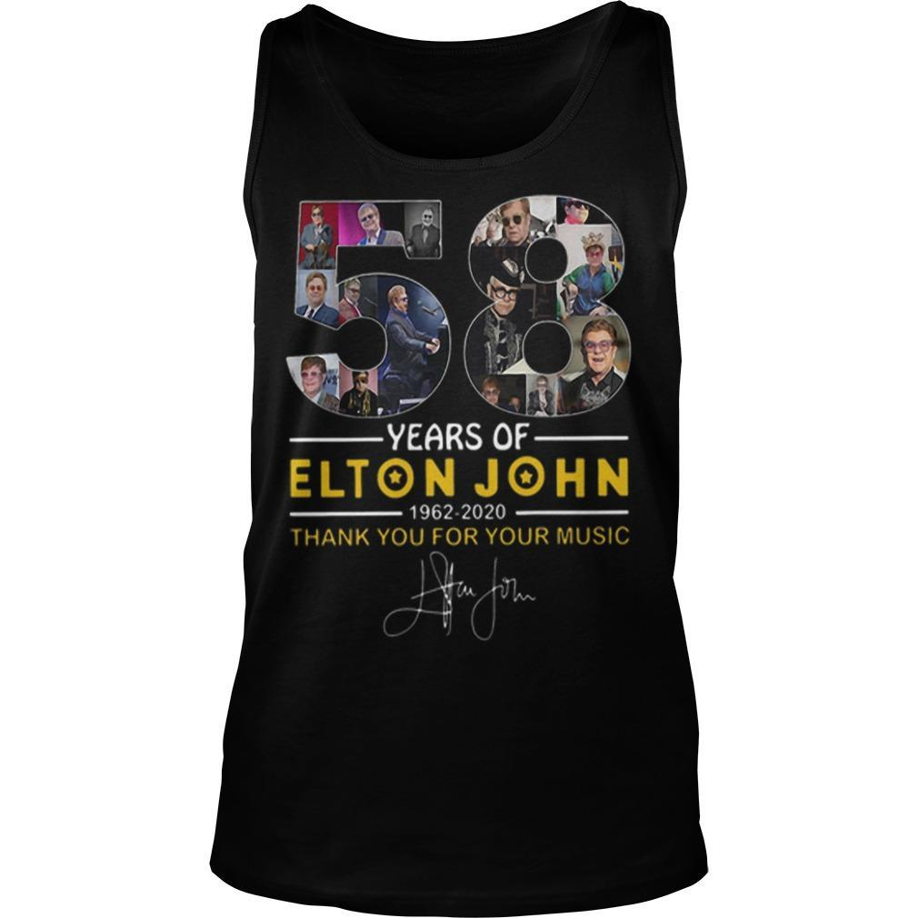 58 Years Of Elton John 1962 2020 Thank You For Your Music Signature Tank Top