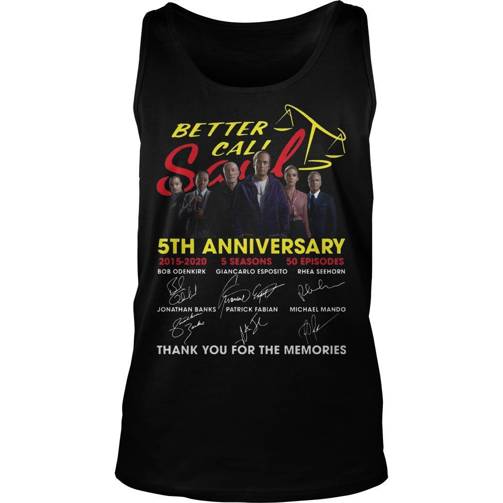Better Call Saul 5th Anniversary Signatures Thank You For The Memories Tank Top
