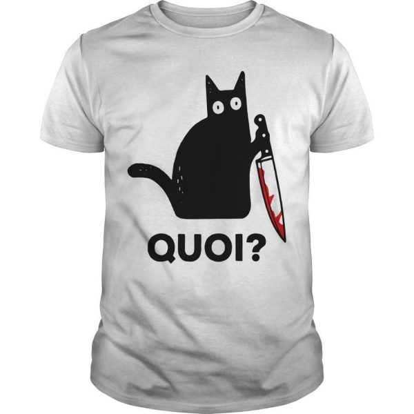 Black Cat Holding Knife Quoi Shirt