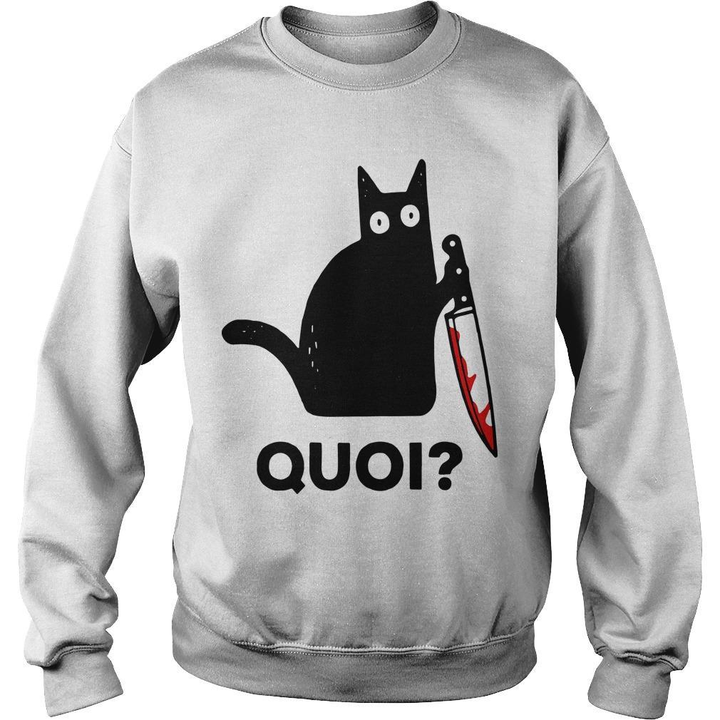 Black Cat Holding Knife Quoi Sweater