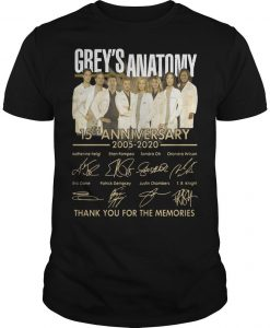 Grey's Anatomy 15th Anniversary 2005 2020 Thank You For The Memories Shirt