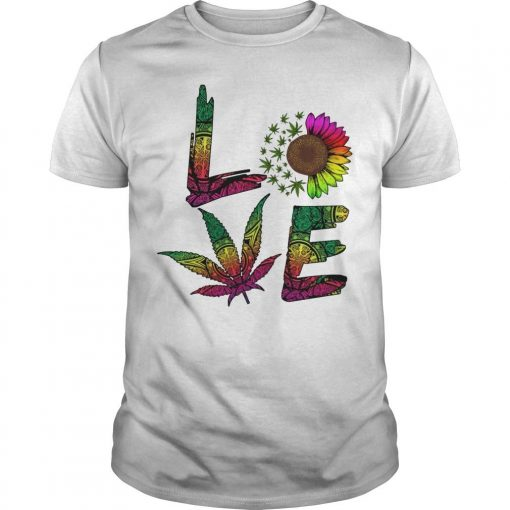 Hippie Sunflower Weed Love Shirt