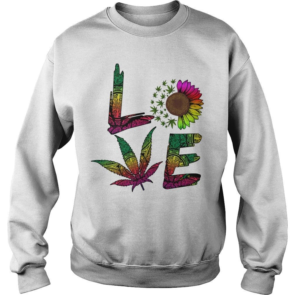 Hippie Sunflower Weed Love Sweater