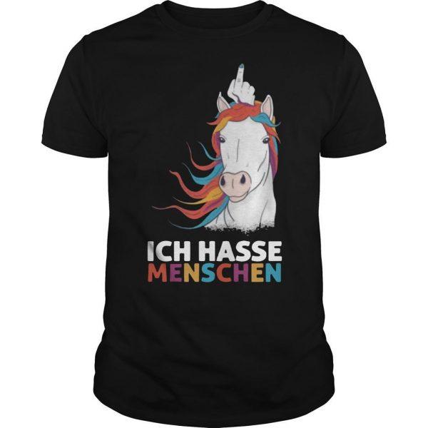 Middle Finger Unicorn Ich Hasse Menschen Shirt