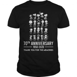 Peanuts 70th Anniversary 1950 2020 Thank You For The Memories Shirt