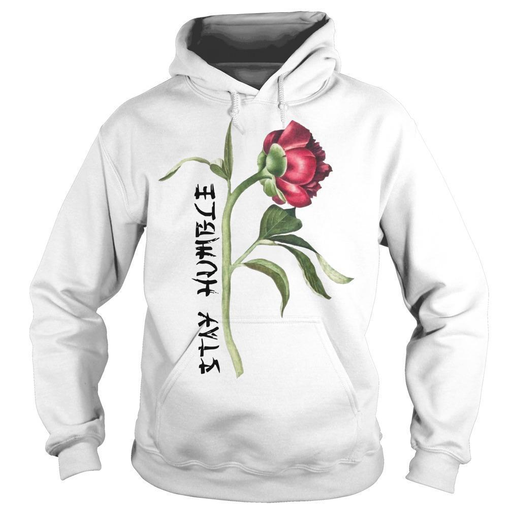 Single Peony Stay Humble Hoodie