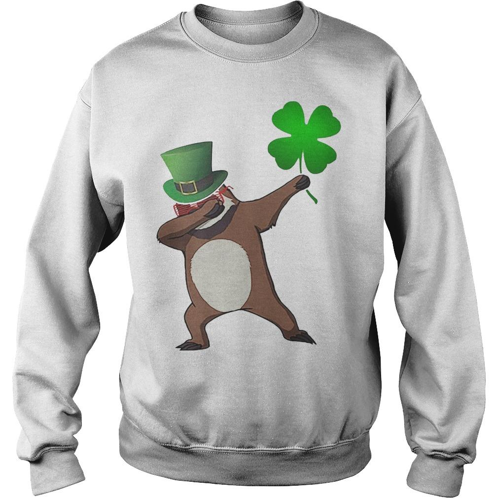 St Patrick's Day Shamrock Sloth Dabbing Sweater