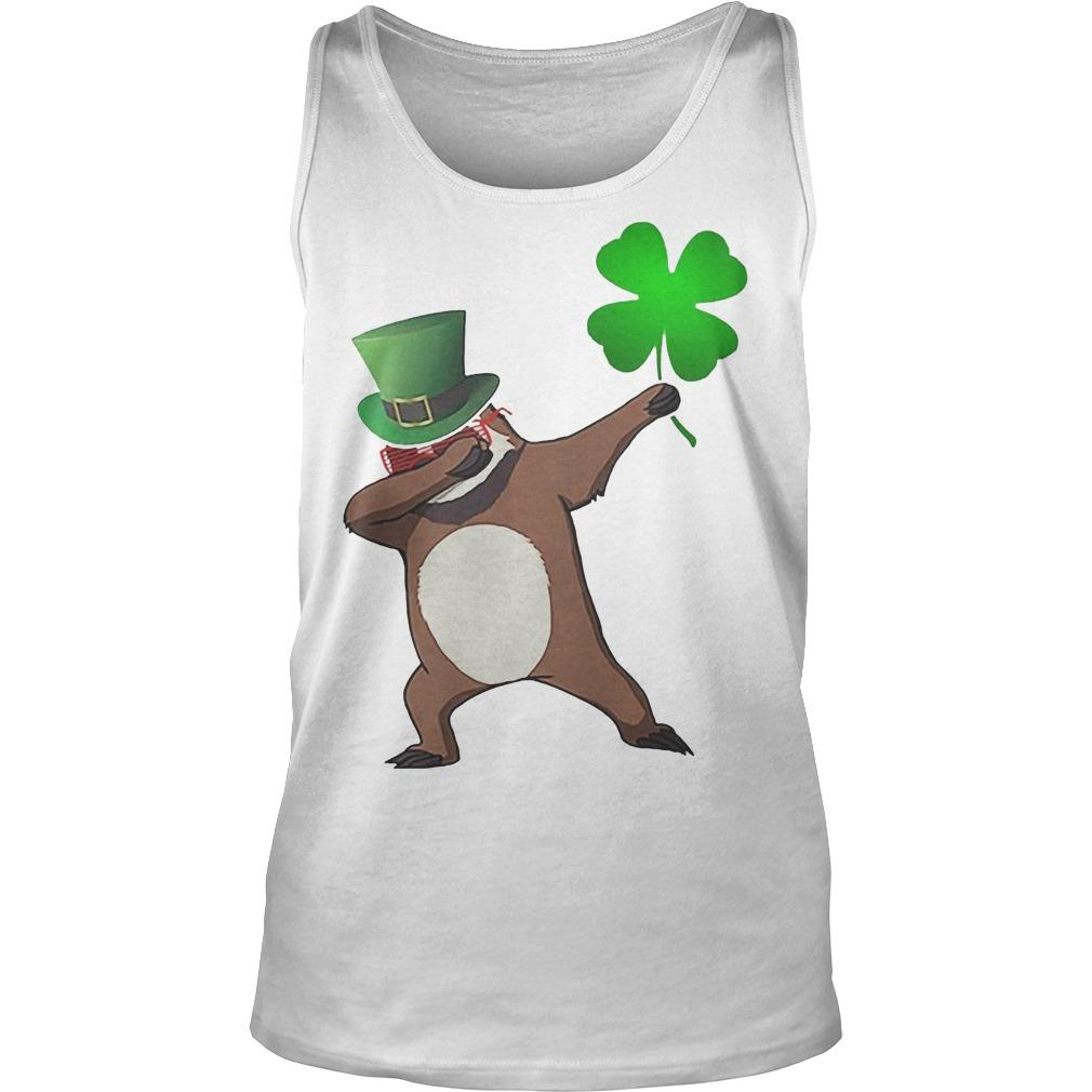 St Patrick's Day Shamrock Sloth Dabbing Tank Top