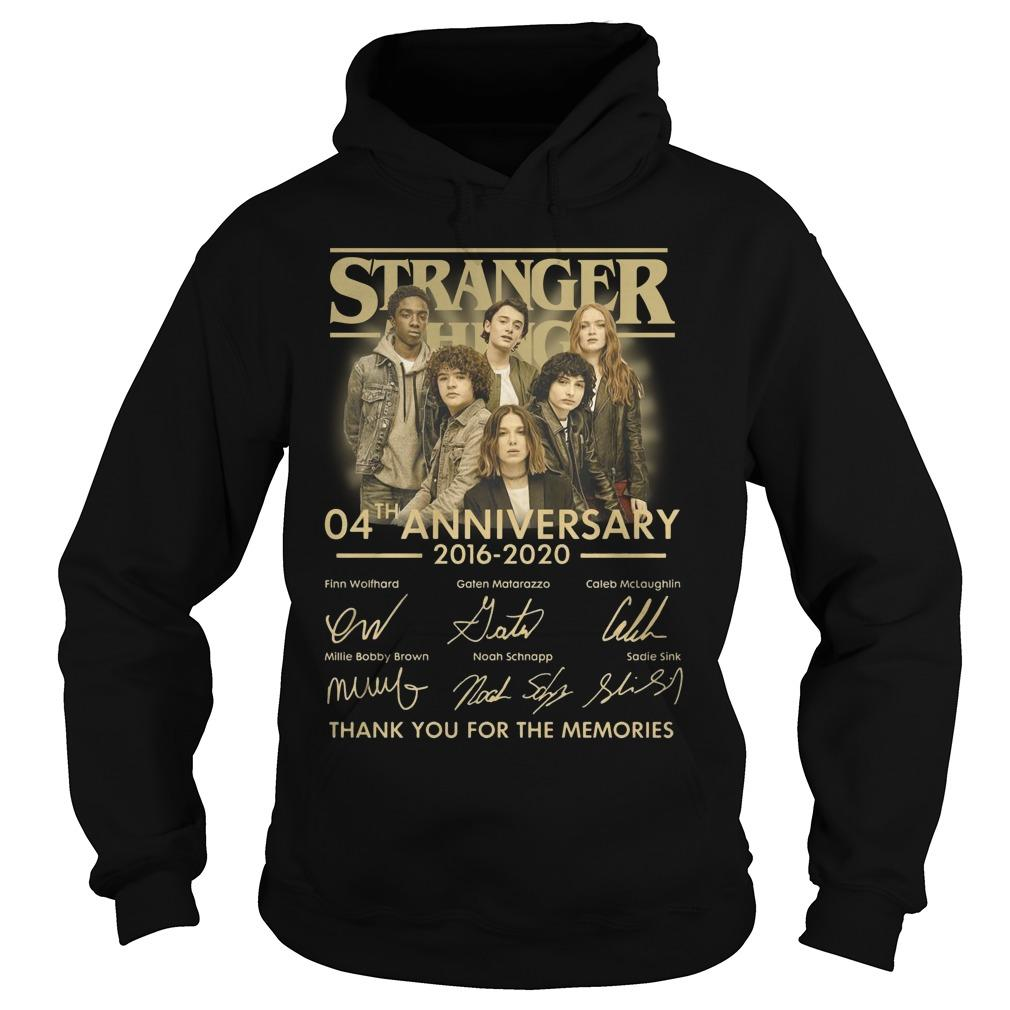 Stranger Thing 04th Anniversary 2016 2020 Thank You For The Memories Hoodie
