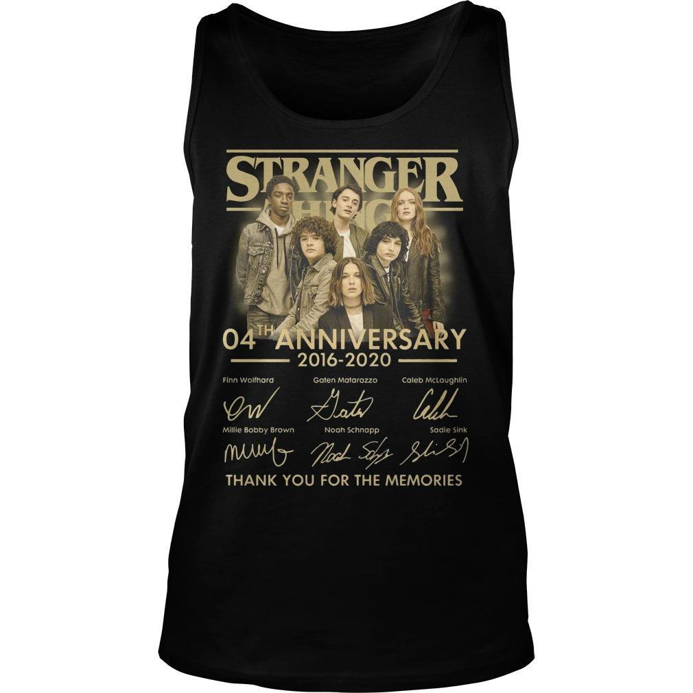 Stranger Thing 04th Anniversary 2016 2020 Thank You For The Memories Tank Top