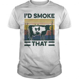 Vintage Cannabis Chicken Pig Cow I'd Smoke That Shirt