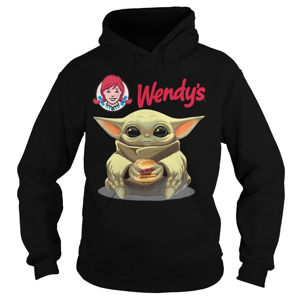 Baby Yoda Hugging Hamburger Wendy's Hoodie