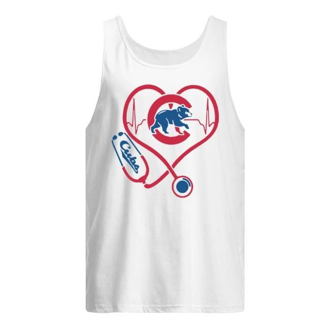 Baseball Stethoscope Heartbeat Chicago Cubs Tank Top