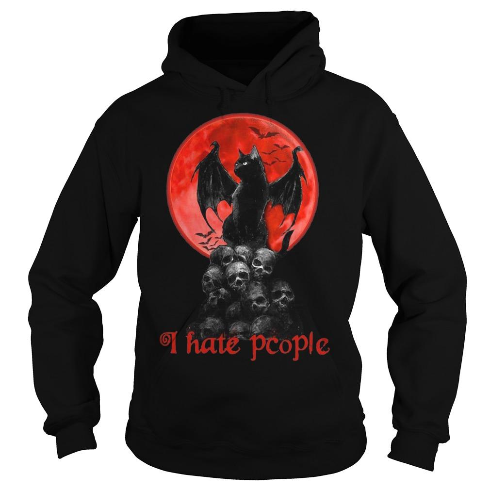 Black Cat Skull Moon I Hate People Hoodie