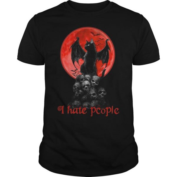 Black Cat Skull Moon I Hate People Shirt