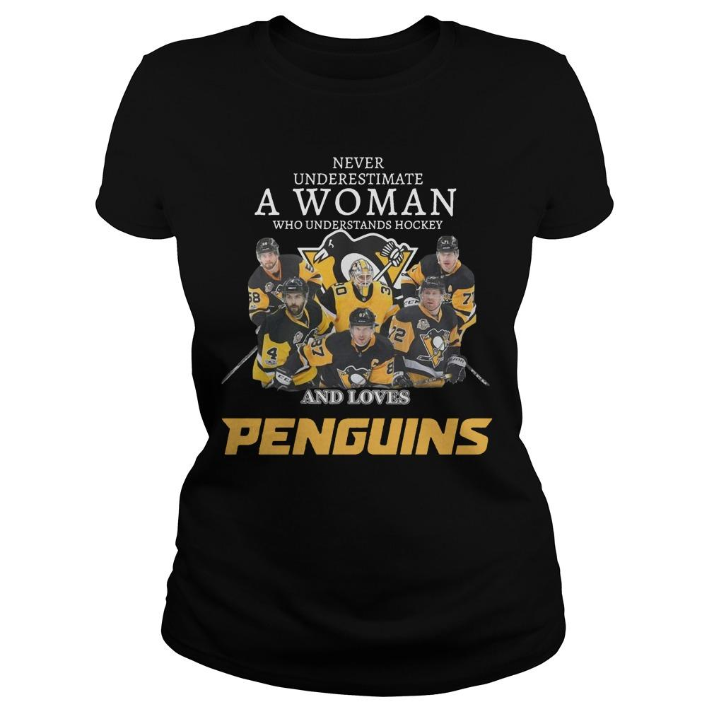 Never Underestimate A Woman Who Understands Hockey And Loves Penguins Longsleeve