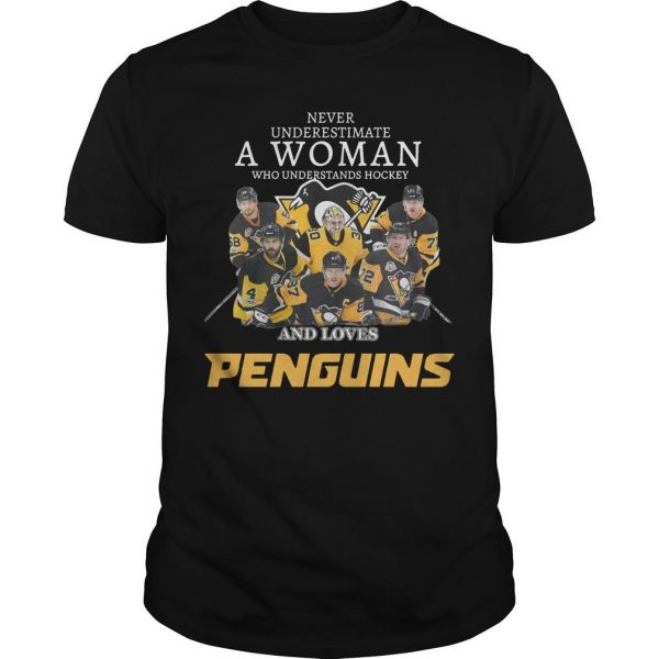 Never Underestimate A Woman Who Understands Hockey And Loves Penguins Shirt