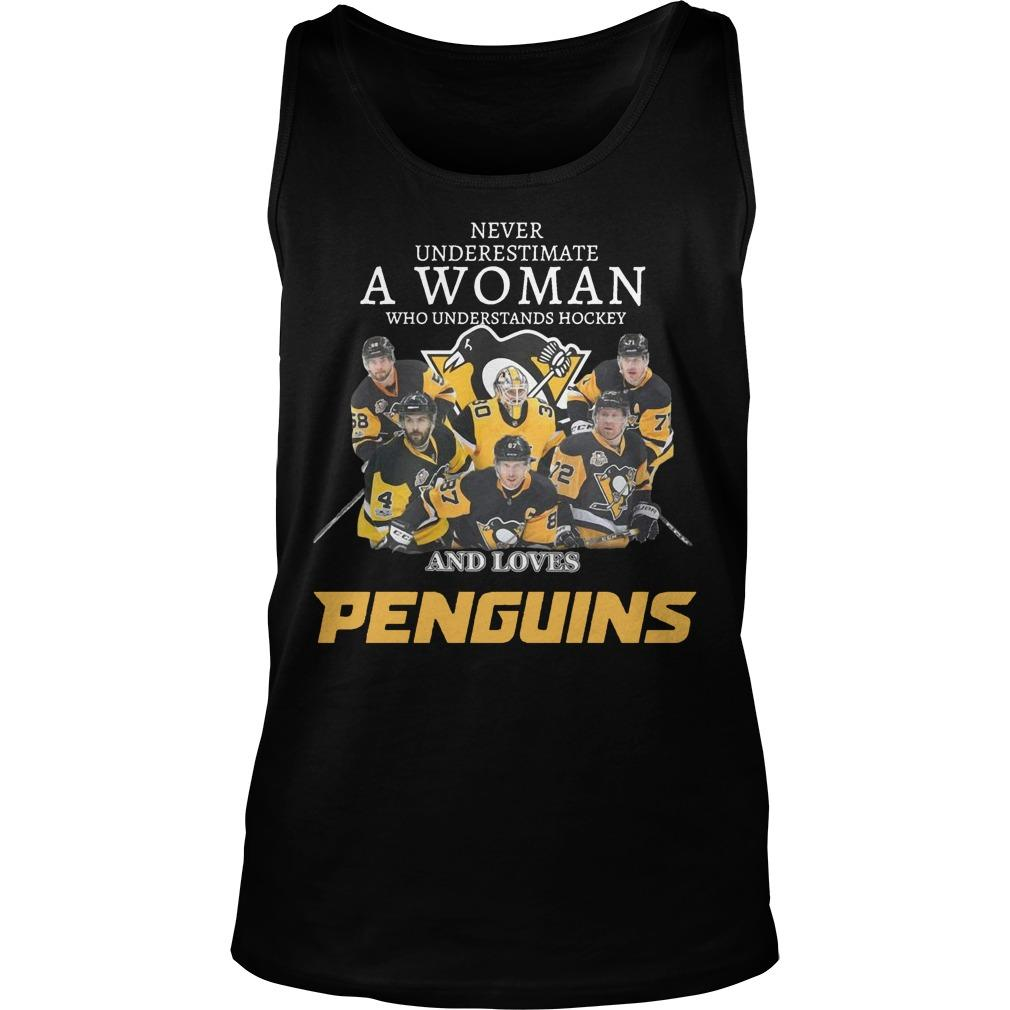 Never Underestimate A Woman Who Understands Hockey And Loves Penguins Tank Top