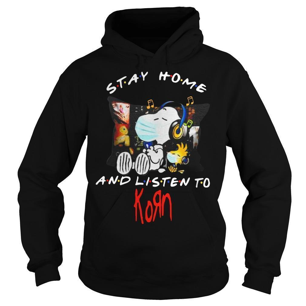 Snoopy And Woodstock Stay Home And Listen To Korn Hoodie