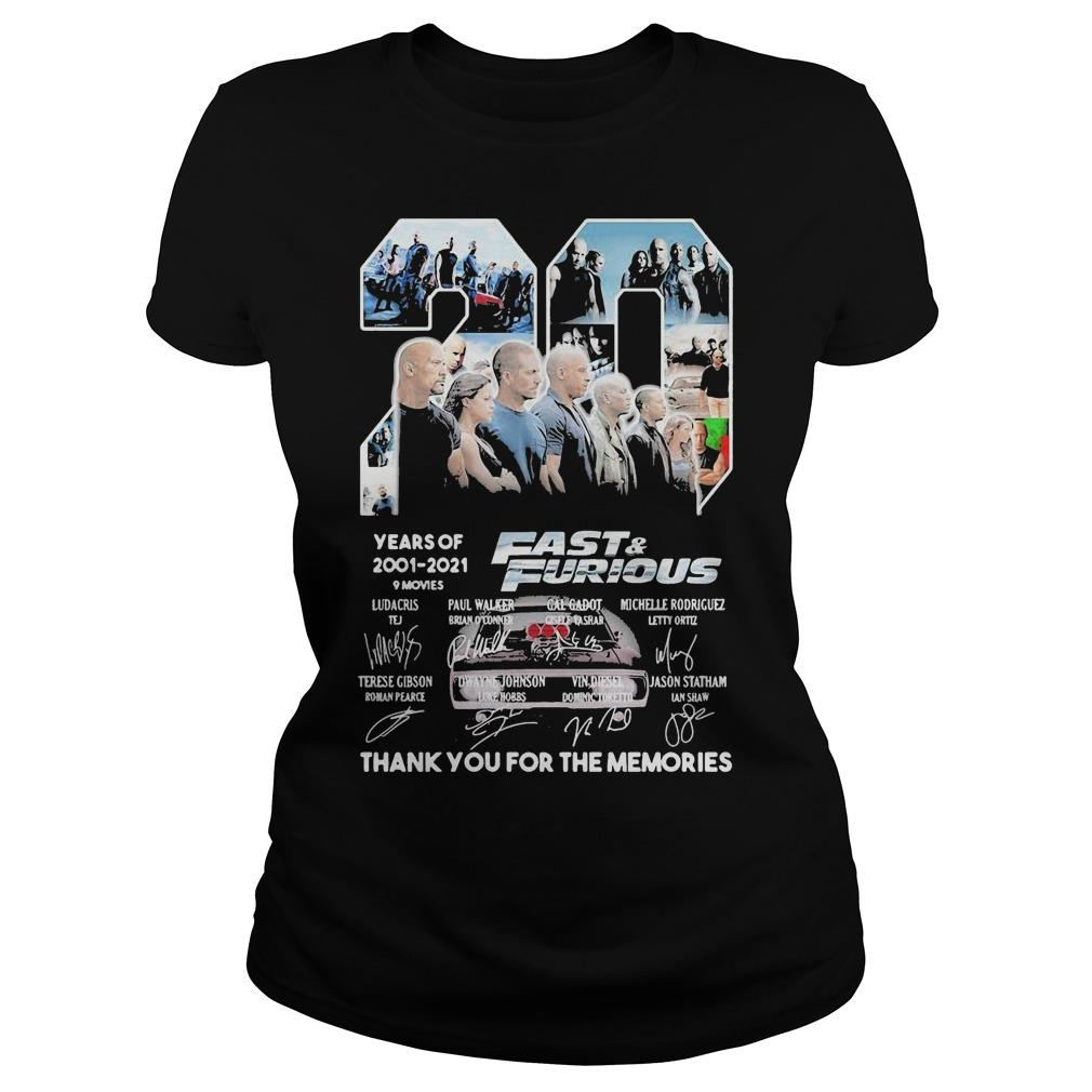 20 Years Of Fast And Furious 9 Movies 2001 2021 Thank You For The Memories Longsleeve