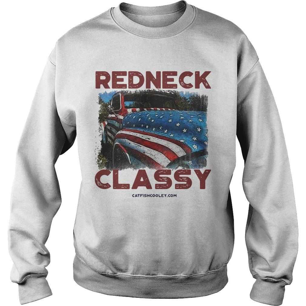 American Flag Truck Veteran Independence Day Redneck Classy Sweater