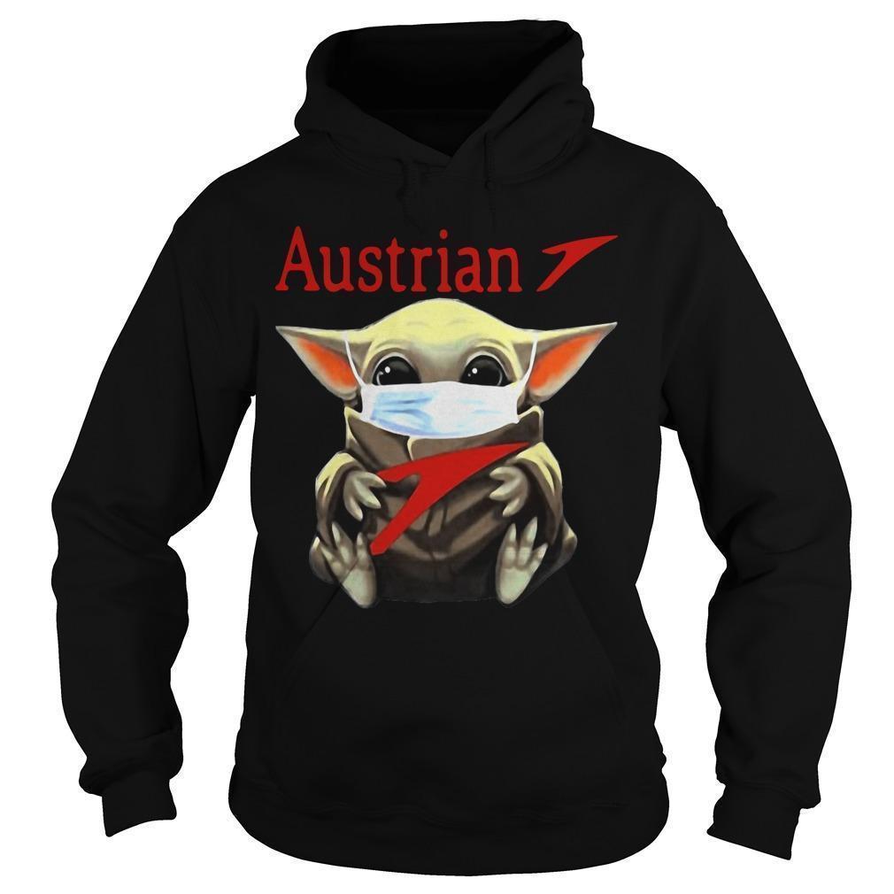 Baby Yoda Mask Hugging Austrian Hoodie