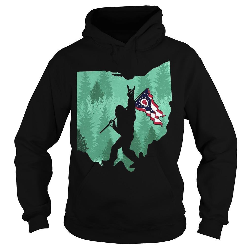 Bigfoot Rock And Roll Ohio Flag In The Forest Hoodie